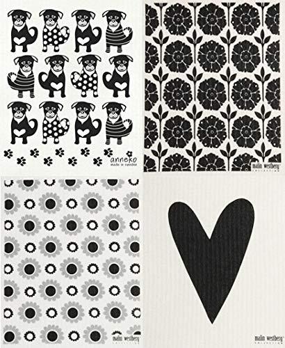Garden Flowers Dog - Swedish Dishcloth/Sponge Cloths, Set of 4 Grey/Black Dogs + Garden + Flowers + Heart