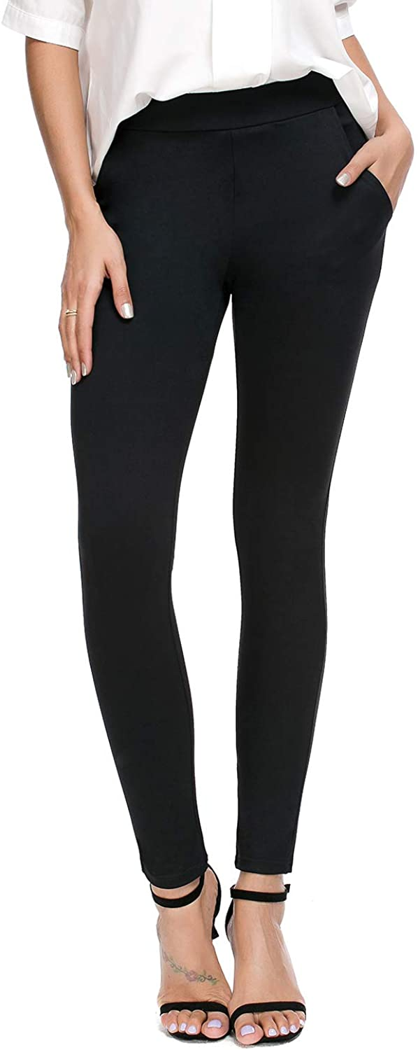 Bamans Women's Skinny Leg Work Pull on Slim Stretch Yoga Dress Pants w/Tummy Control
