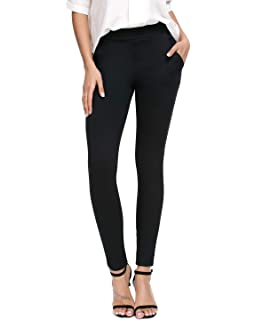d6cf8a6460dc7 Bamans Women's Skinny Leg Work Pull on Slim Stretch Yoga Dress Pants  w/Tummy Control