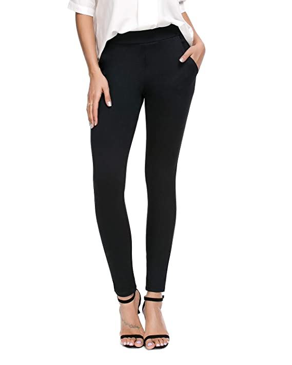 Bamans Women's Skinny Leg Work Pull on Slim Stretch Yoga Dress Pants w/Tummy Control (Small, Black-2)