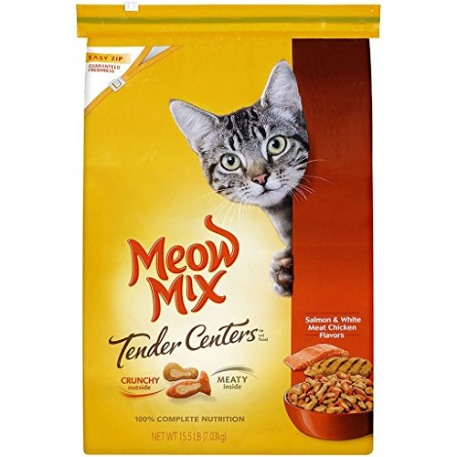 Meow Mix Tender Centers Dry Cat Food, Salmon & Chicken (15.5 lbs.) Crunchy outside - Meaty inside High-protein recipe ()