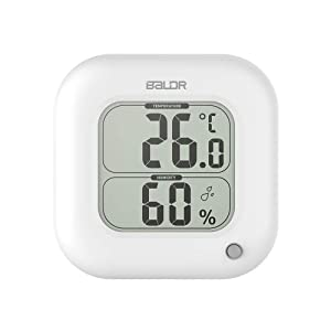 BALDR Square Thermometer and Hygrometer with Temperature Humidity Display Temperature Sensor (White)