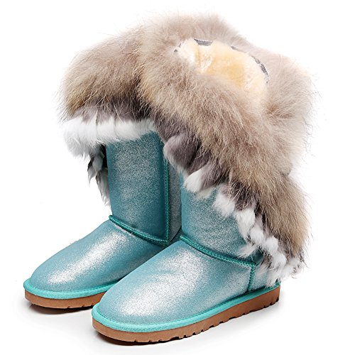 rismart Women High-End Custom Water-Resistant Half Snow Boots Stylish Glitter Suede Dressy Winter Boots With Warm Wool Lining Blue SN2810 US7.5 CY9b5E1641