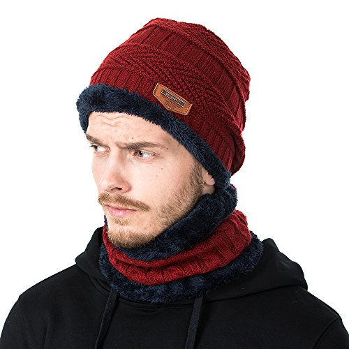 Winter Knit Hat Scarf Set, Warm Thick Knit Skull Cap For Men/Women (Wine Red)