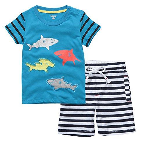 Mini Bitty Boy's Summer Cotton T-Shirt Casual Shorts Cute Print Clothes Set(Blue,4T)