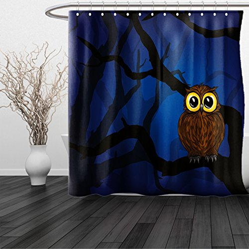 HAIXIA Shower Curtain Night Cute Owl Sitting on a Tree Branch Mysterious Woods Spooky Forest Cartoon Navy Blue Black Brown (Barn Faux Mirror Door)