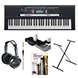 Yamaha PSRE243 Entry-Level Portable Keyboard with JVC Full-Size Stereo Headphones, 61-Key Keyboard Dust Cover, X-Style Keyboard Stand and Alfred's Learn to Play Piano - Book + DVD