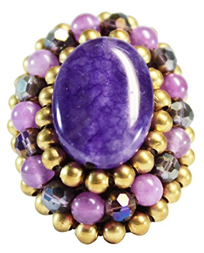 Costume Rule Ja (Bijoux De Ja Handmade Cabochon Purple Stone Crochet Adjustable Ring Size)