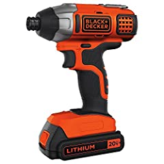 "The BLACK+DECKER BDCI20C 20v MAX Lithium Impact Driver features a high performance transmission that delivers 1375 in-lbs of max torque (determined by 30 second impact load gauge test method). This driver has a quick release 1/4"" hex chuck. T..."