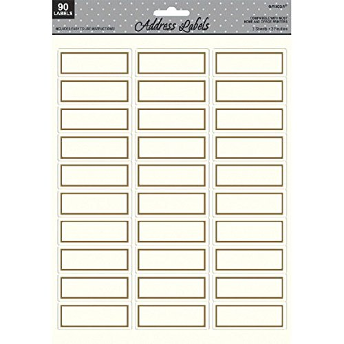 Amscan Elegant Border Printable Sticker Address Labels Party Supply (Pack of 90), White/Gold, 8.5