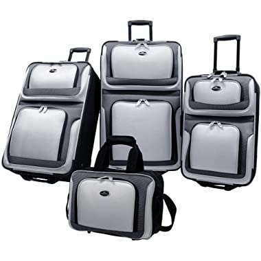 US Traveler New Yorker 4 Piece Luggage Set Expandable, Grey , One Size