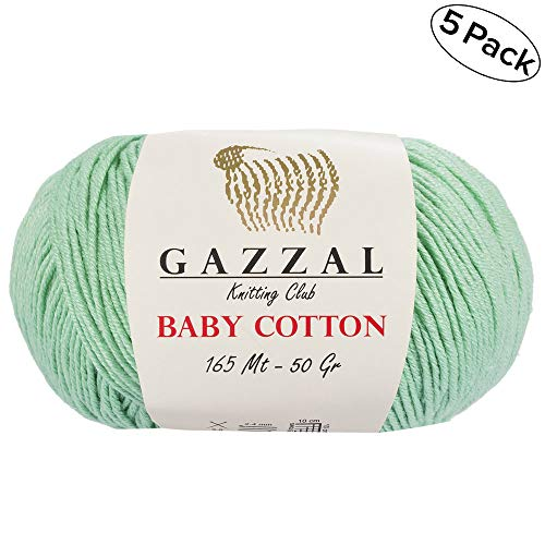 - 5 Skein (Pack) Total 8.8 Oz. Gazzal Baby Cotton Each 1.76 Oz (50g) / 150 Yrds (165m) Soft, Fine Baby Yarn, 60% Cotton (Pastel Green - 3425)