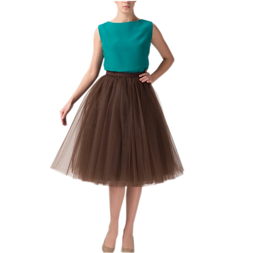 Lisong Women Tea Length Layered Tulle A-Line Tutu Party Skirt 6 US Coffee