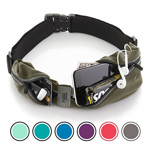 Buddy Pack - Running Belt USA Patented. Fanny Pack for Hands-Free Workout. iPhone X 6 7 8 Plus Buddy Pouch for Runners. Freerunning Reflective Waist Pack Phone Holder. Men Women Kids Gear Accessories (Navy green)