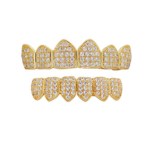 (Hip Hop Bling Iced Out Yellow or White Gold-Tone Lab Cubic Zirconia Kevin Gates Top and Bottom Custom Grillz Grill with Mold Bar (yellow-gold-tone))