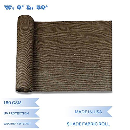 Fabric Solar Shade (E&K Sunrise 8' x 50' Brown Sun Shade Fabric Sunblock Shade Cloth Roll, 95% UV Resistant Mesh Netting Cover for Outdoor,Backyard,Garden,Greenhouse,Barn,Plant (Customized Sizes Available))