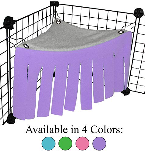 Corner Fleece Forest Hideout for Guinea Pigs, Ferrets, Chinchillas, Hedgehogs, Dwarf Rabbits and Other Small Pets – Accessories and Toys (Purple/Gray)