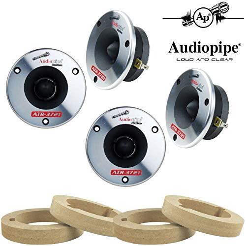 Audiopipe 2-Pair Titanium Super Bullet Tweeters 350W Max 4 Ohm with Custom MDF Tweeter Adapter Rings
