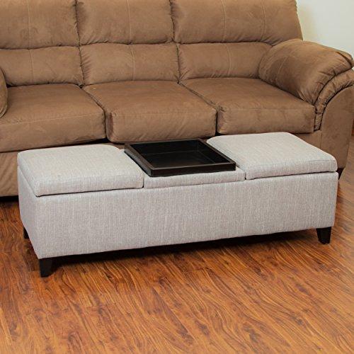 Great Deal Furniture 215503 Fullerton Chamois Fabric Storage Ottoman, Beige, Yellow