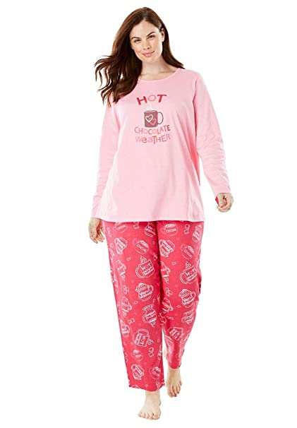 929c9660590e Dreams   Co. Women s Plus Size Holiday Print Pj Set at Amazon ...