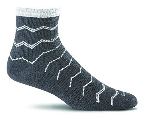 (Sockwell Women's Plantar Fasciitis Firm Compression Socks, Plantar Quarter Black, Small/Medium)