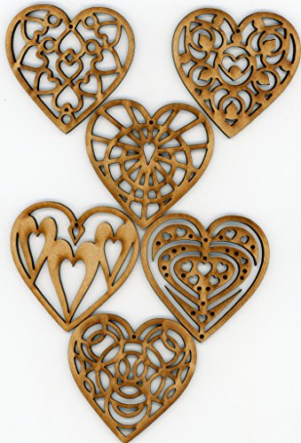 EP Laser Heart Ornaments Wooden Valentine or Christmas Holiday Decorations Set of 6