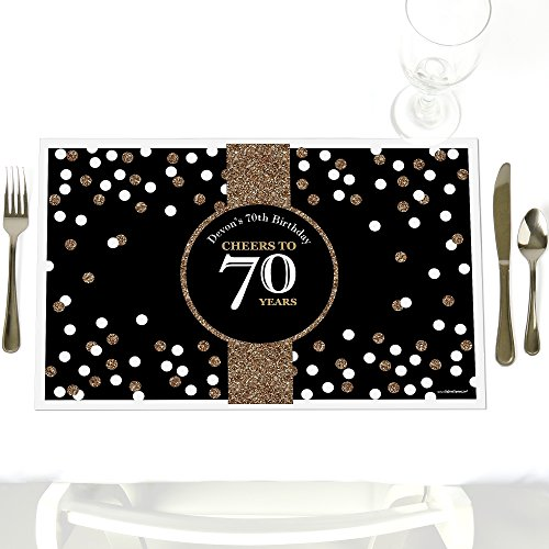 Custom Adult 70th Birthday - Gold - Party Table Decorations - Personalized Birthday Party Placemats - Set of 12