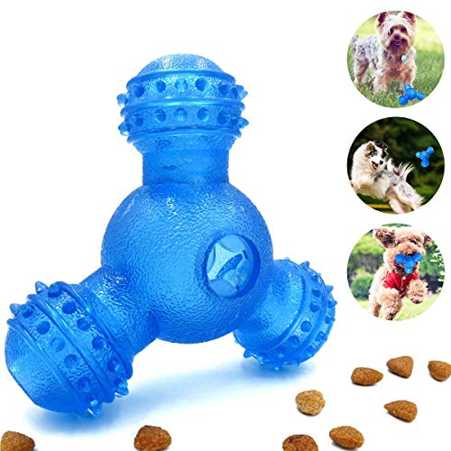 Interactive Dog Chew Toys 3 Holes Food Dispending &100% Non-Toxic Durable Natural for Small Medium Dogs IQ Treat Boredom…