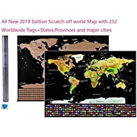 Unistore- [All new 2019 Edition] 82.5CM * 59.4CM Black based Golden coating Scratch off world Map with 252 worldwide Flags. New Full color Edition with States and Provinces of Most countries plus Major cities and capitals(US and Canada Inclusive). Comes with a free scratching tool