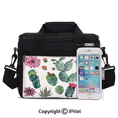(Portable Insulated Cold Desert Botanic Herbal Cartoon like Cactus Plant Flower with Spikes Print Print Picnic Carry Case Thermal Lunch Bag,Green and Pink)