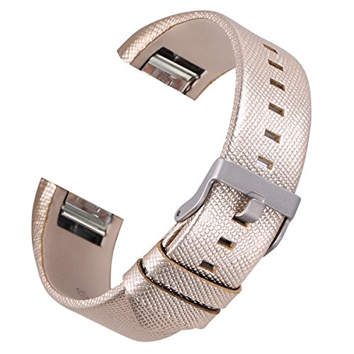 bayite Leather Bands Compatible Fitbit Charge 2, Replacement Accessories Straps Women Men, Gold