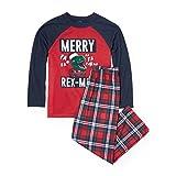 The Children's Place Big Boys' Dinosaur Christmas Pajamas, Ruby 90483, L (10/12)