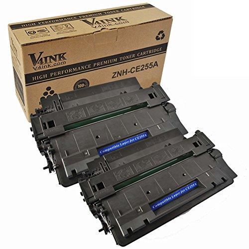V4INK 2-Pack New Compatible Black 55A CE255A Toner Cartridge for HP LaserJet P3010 P3015 P3015d P3015dn P3015n P3015x Enterprise 500 MFP M521dn M521dw M525c M525dn M525f Printer