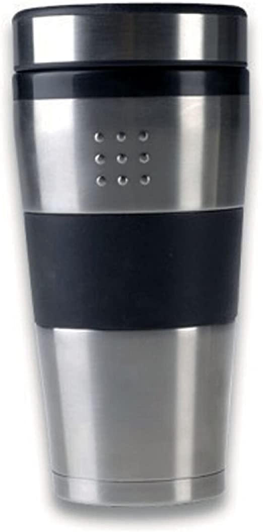 Amazon Com Berghoff Orion Stainless Steel Travel Mug With Black Burable Plastic For An Easy Stay Cool Grip 16 9oz Silver Kitchen Dining