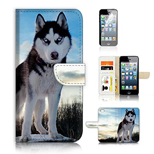 ( For iPhone 5 5S / iPhone SE ) Flip Wallet Case Cover and Screen Protector Bundle A20395 Siberian Husky (Huskies Cell Phone Case)