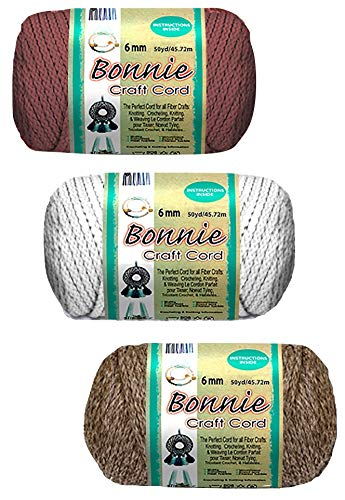 3 Pepperell Bonnie Macrame Craft Cord 6 mm 50-Yard | for Knotting, Knitting, Crocheting and Weaving | Bundle Includes White, Pottery and Rose Colors