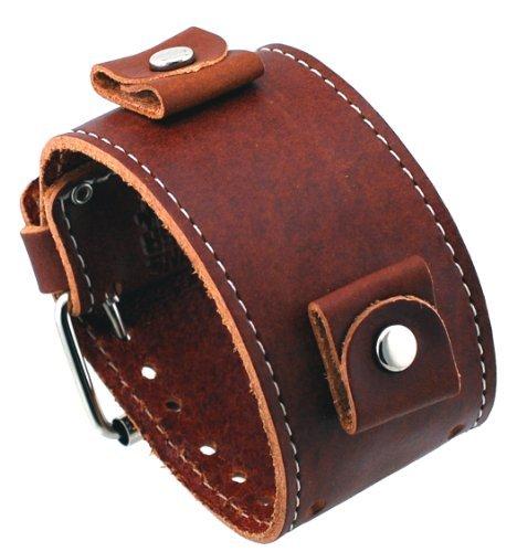 Nemesis #BL-BB Wide Brown Leather Cuff Wrist Watch Band