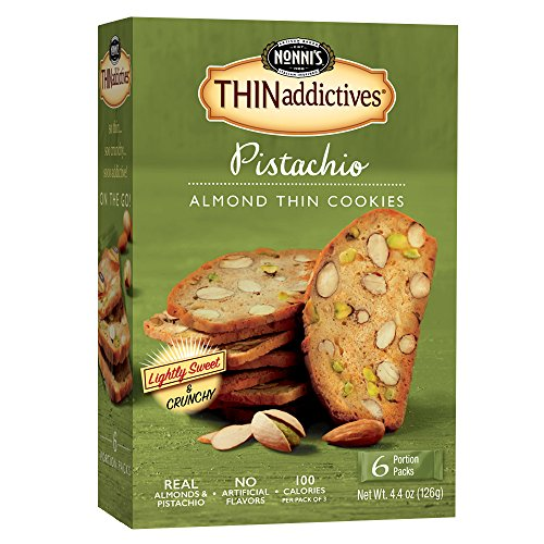 Nonni's THINaddictives, Thin Cookies, Pistachio Almond, 6 Count, 4.4 Ounce (Whole Food)