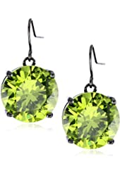 "nOir Jewelry ""Classic Cubic Zirconia"" Green Round Stone Statement Earrings"