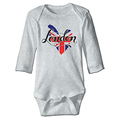 British Flag In Heart Shape London Baby Long Sleeves Climbing Clothes Unisex Sets Size 18 Months Ash Fashion