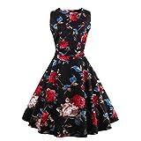 Floral Print Black Vintage Style Sleeveless O-Neck Tank Dresses