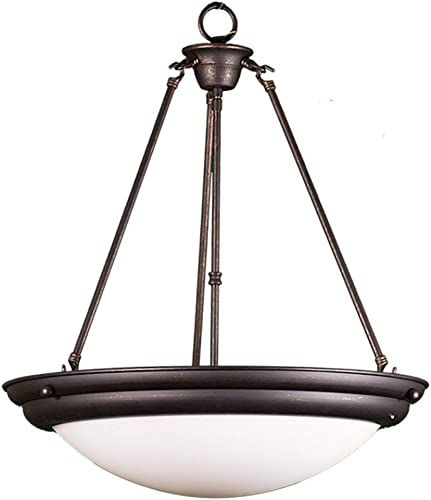 HOMEnhancements- White Bowl Foyer Hanging Pendant- Rubbed Bronze Finish- White Glass- 23 H x 20 W x 20 D- 3x60W M – CH-1WH-RB