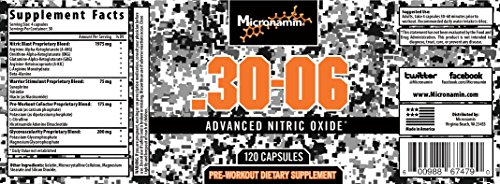 Micronamin Nitric Oxide Supplement .30-06 (120 Capsules) - Pre Workout Pills - Nitric Oxide Booster