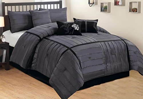 Legacy Decor 7 PC Black and Grey Faux Silk Stitched Comforter Set, Queen Comforter Set