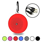 Red Portable Waterproof Bluetooth Speaker and with Hanging Hook - Wireless, Hi-Fi Speakers, 5W Driver - USB and Memory Card Input - by Gee Gadgets HD Sound and Bass