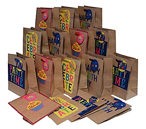 Birthday Party Gift Bags with handles, colorful glitter designs, Large, set of 8 bags, 12.75