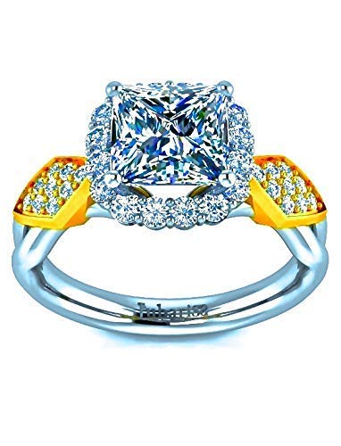 - Princess Cut Custom Oval Tufted Shank Halo Diamond Engagement Ring Two Tone White&Yellow Gold 1.55Ctw Designer Handmade Fine Jewelry