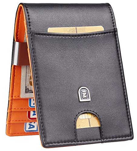 (JM Mens Bifold Wallet Money Clip RFID Blocking Travel Wallet Credit Card Holder (napa black and orange size A))
