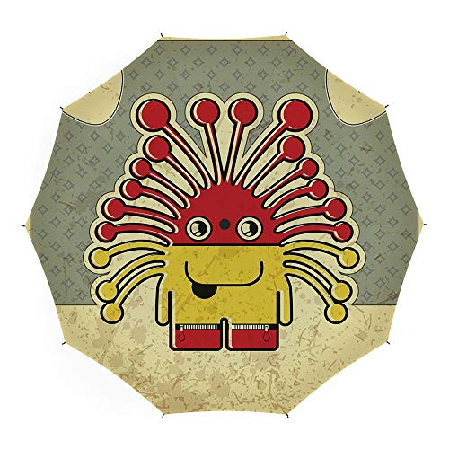 Backdrop Smith - Travel Umbrella,Funny,10 Ribs Finest Windproof Umbrella with Teflon Coating, Auto Open Close and Upgraded Comfort Handle 45 Inch,Bizarre Monster on Retro Style Backdrop Cute Grunge Cartoon Figure with