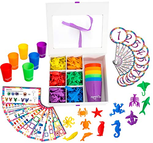 Learning Case Activity - Mara's Box Counting, Math Learning, Shape and Color Sorting Set - Includes Colored Cups, Number & Activity Cards, and Ocean Animals Manipulatives for Toddlers